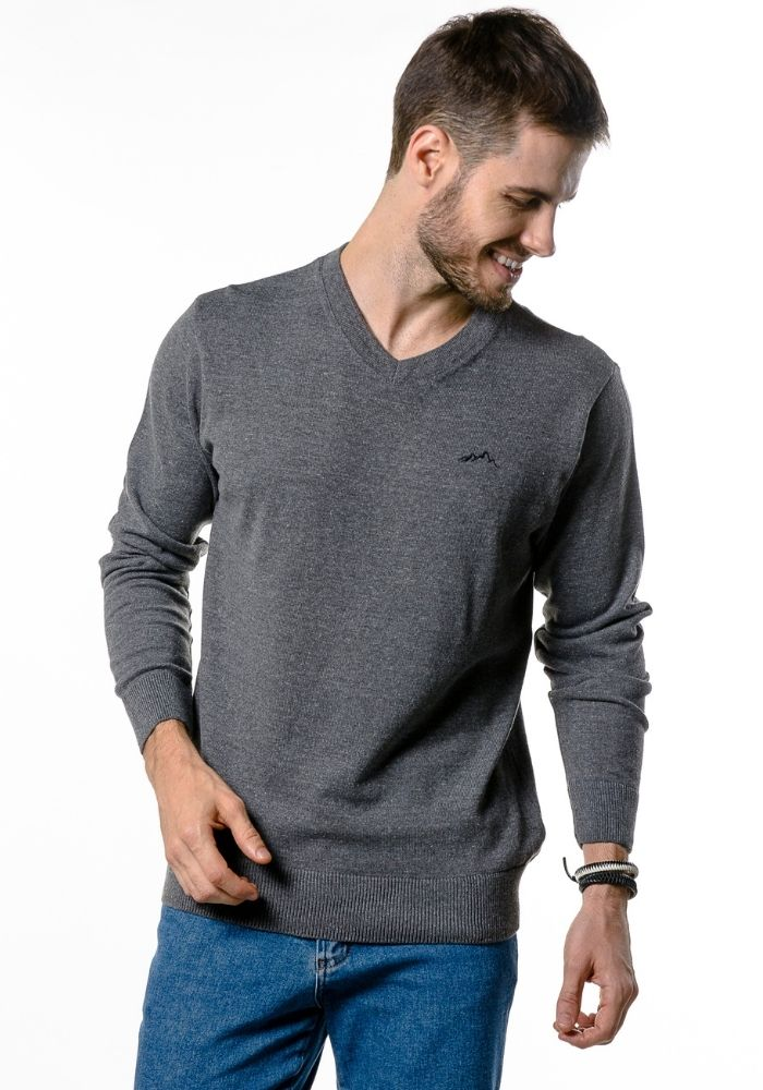 Suéter de Tricô Basic Gola V Loma Negra Cinza Mescla