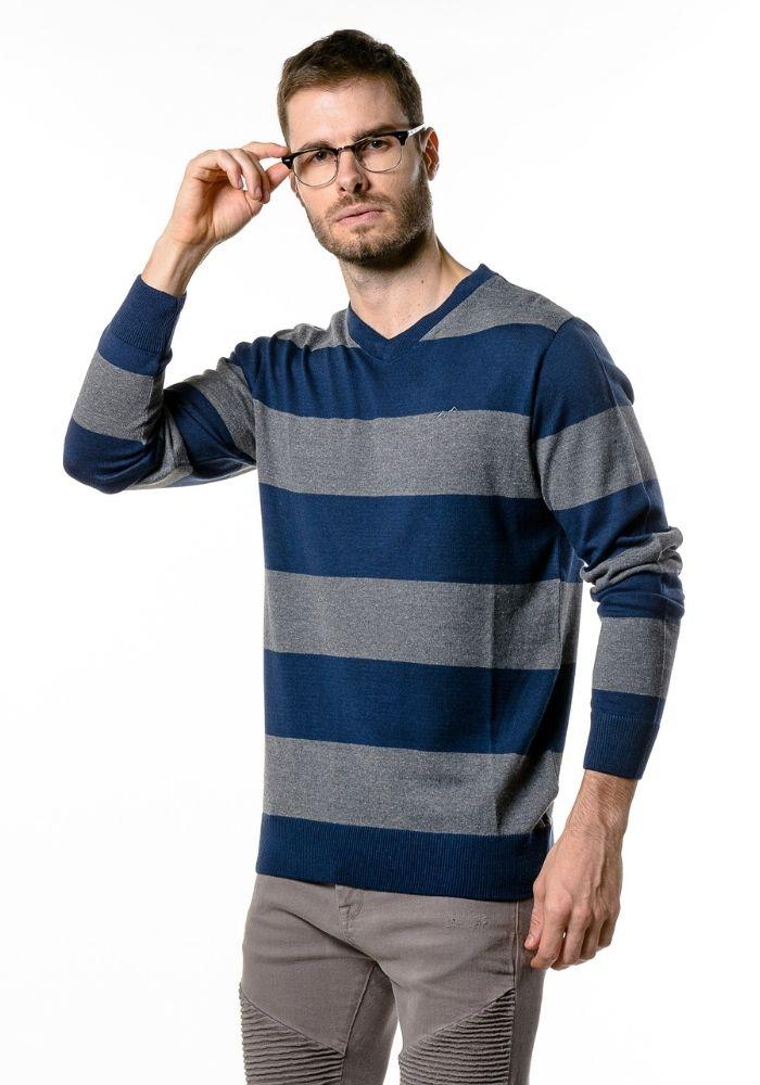 Suéter de Tricô Listrado Traditional Marinho Loma Negra