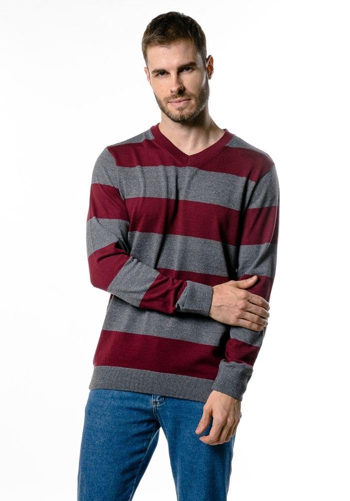 Suéter de Tricô Listrado Traditional Vinho Loma Negra