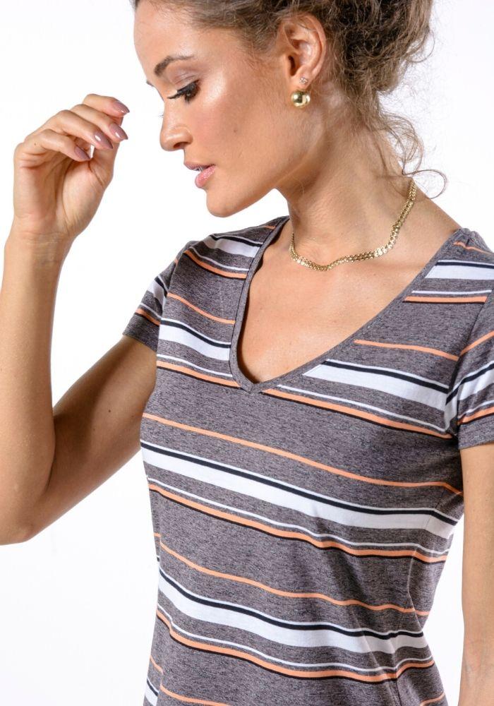 Vestido Listrado Camiseta Cia Gota Woman Chumbo