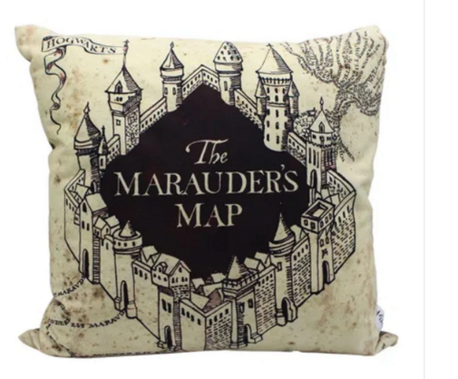 Almofada Veludo Harry Potter Mapa do Maroto 40cmx40cm