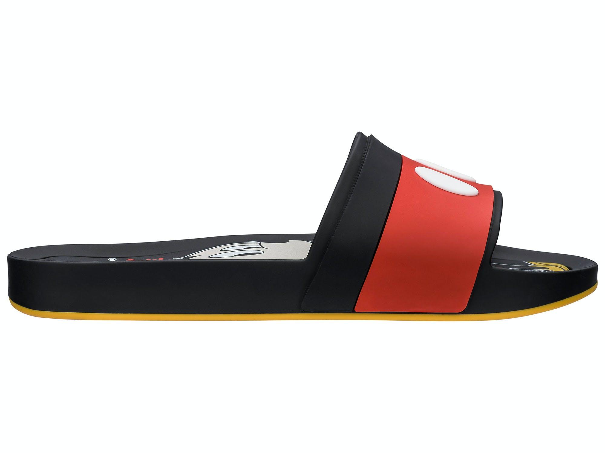 Melissa Beach Slide Mickey Preto/Vermelho/Amarelo