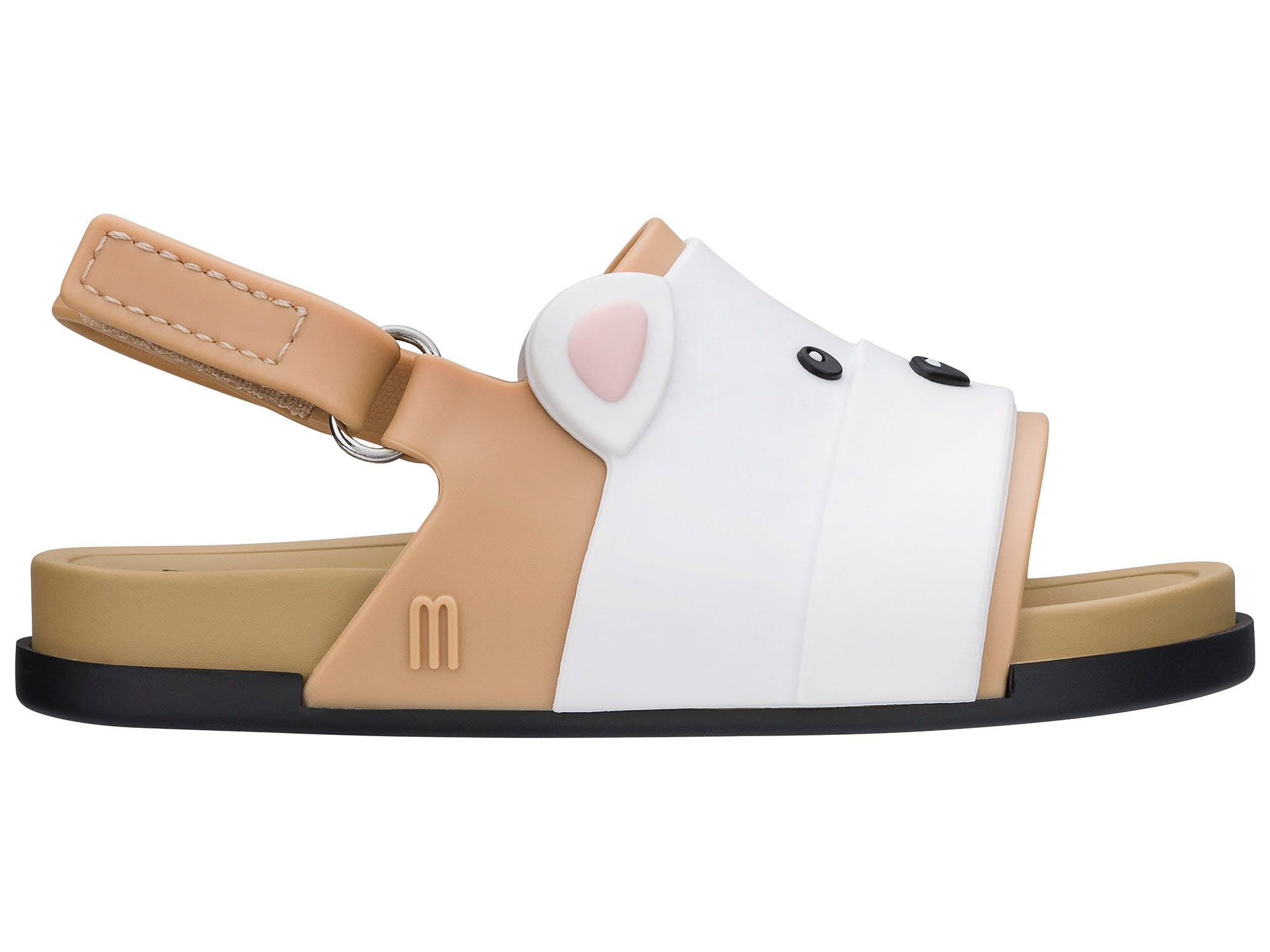 Mini Melissa beach Slide Sandal Bear Bege Branco Preto