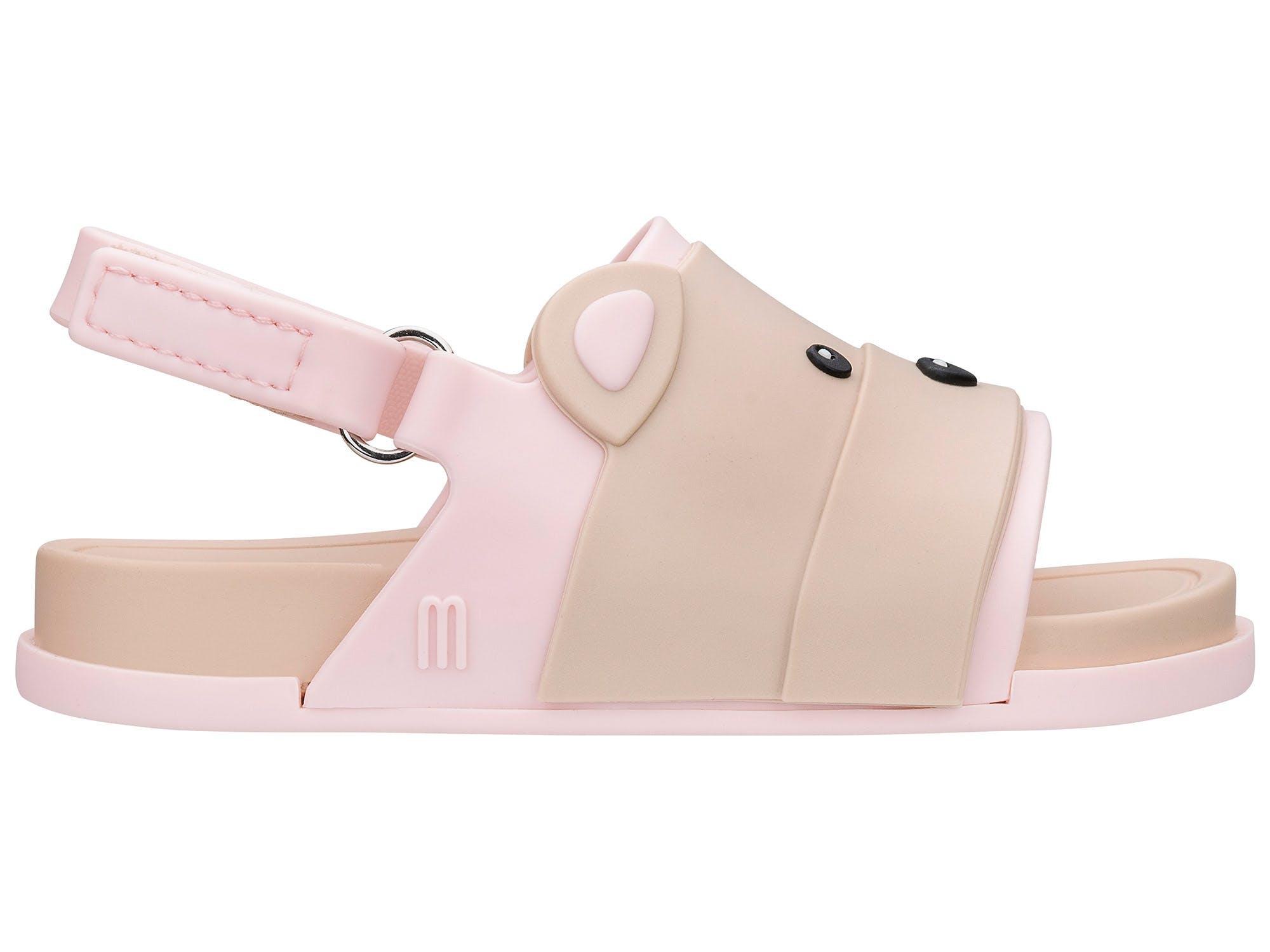 Mini Melissa beach Slide Sandal Bear Bege Rosa