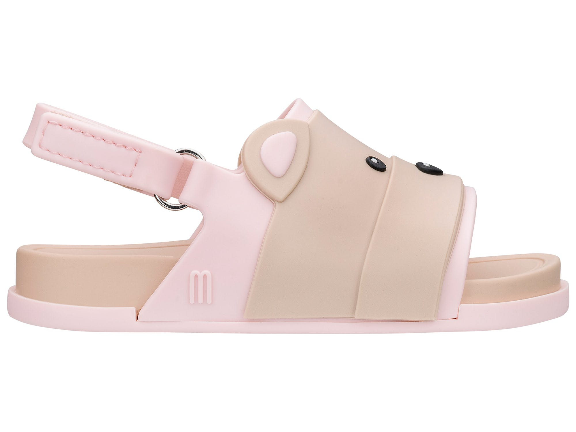 Mini Melissa beach Slide Sandal Bear Bege Rosa