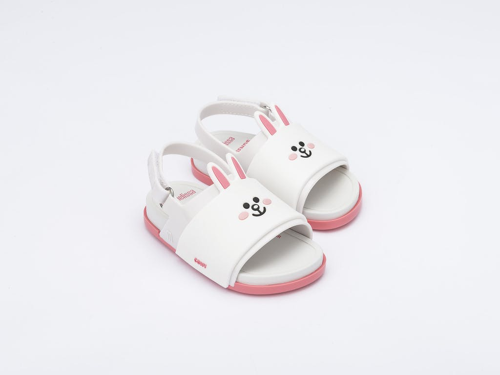 Mini Melissa Beach Slide Sandal + Line Friends Branco Rosa