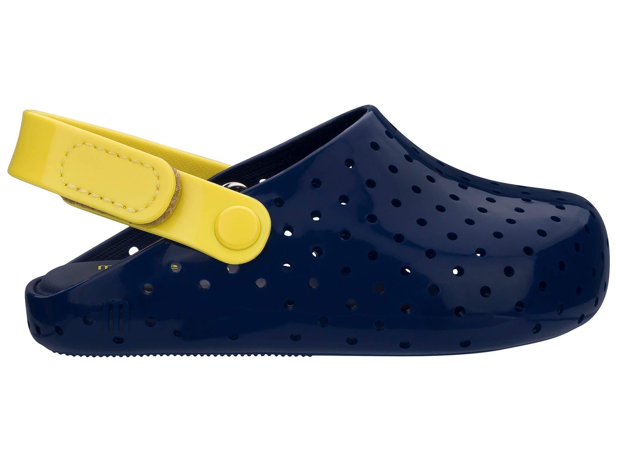 Mini Melissa Furadinha Babouche Azul Amarela