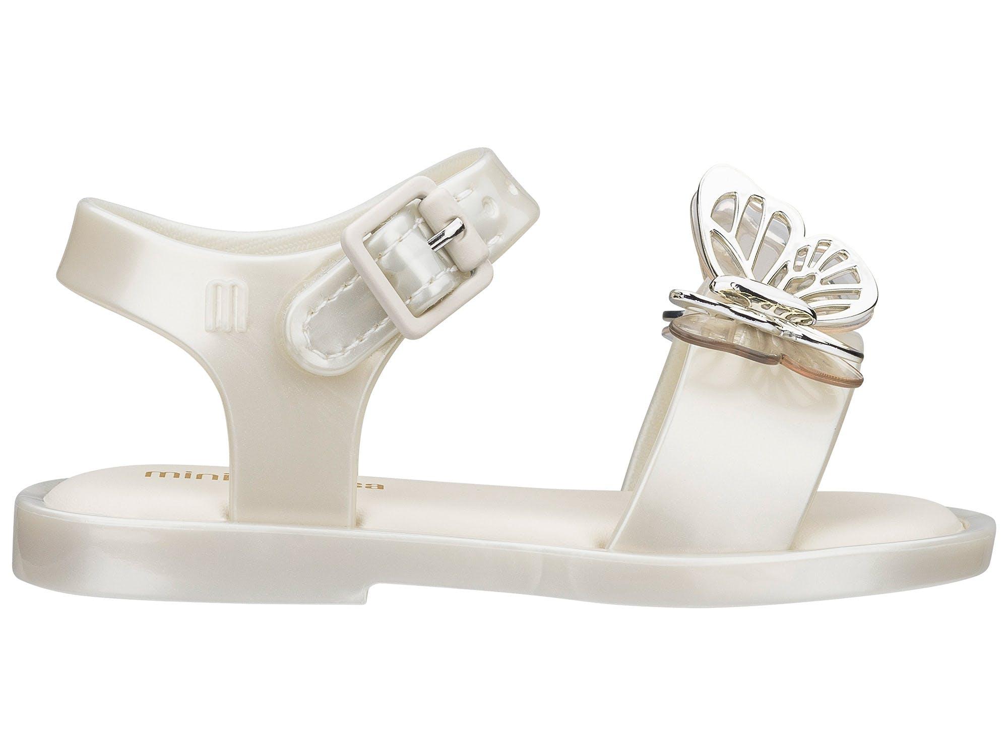 Mini Melissa Mar Sandal Fly Branco Cintila Prata