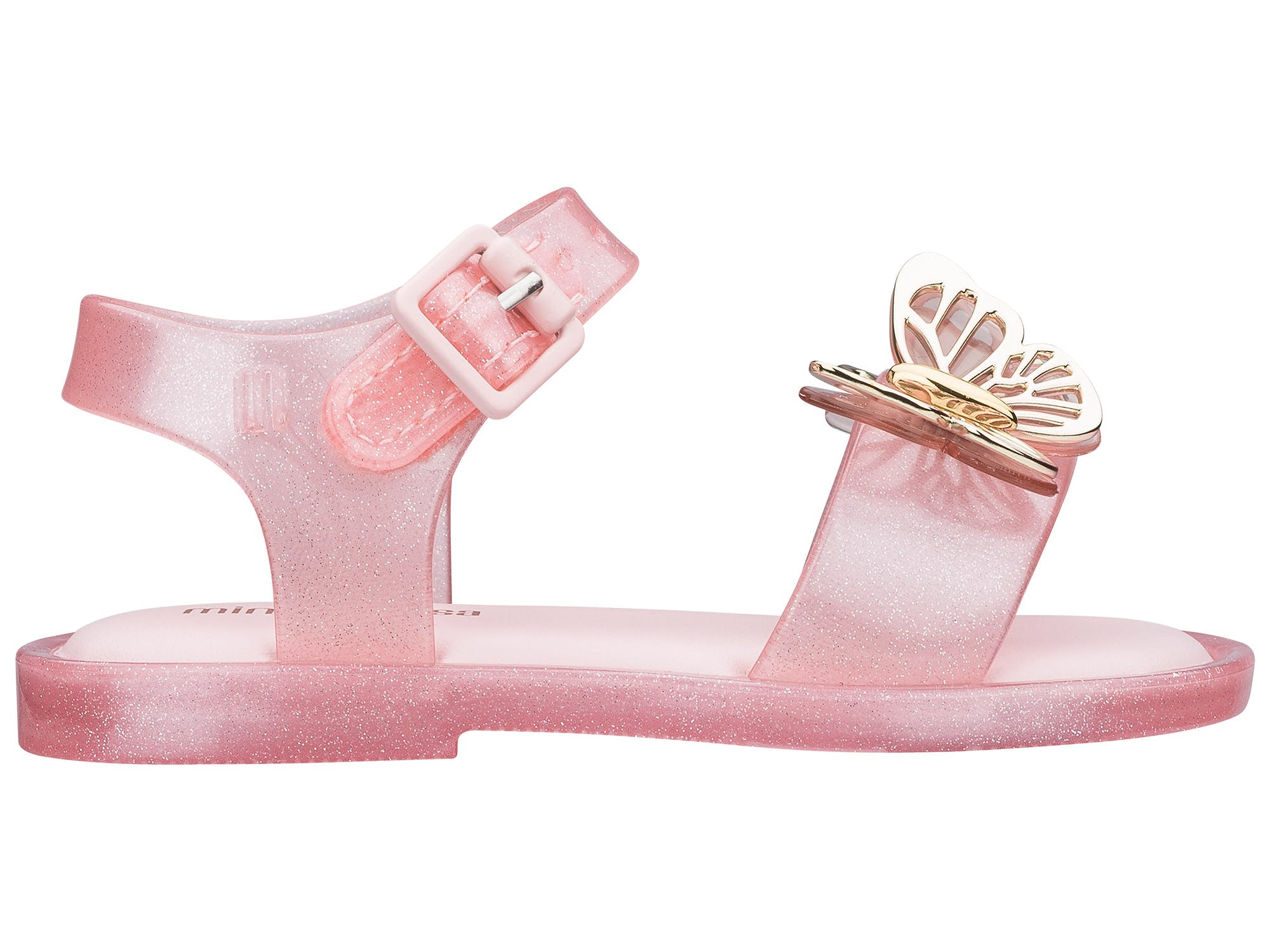 Mini Melissa Mar Sandal Fly Rosa Ouro
