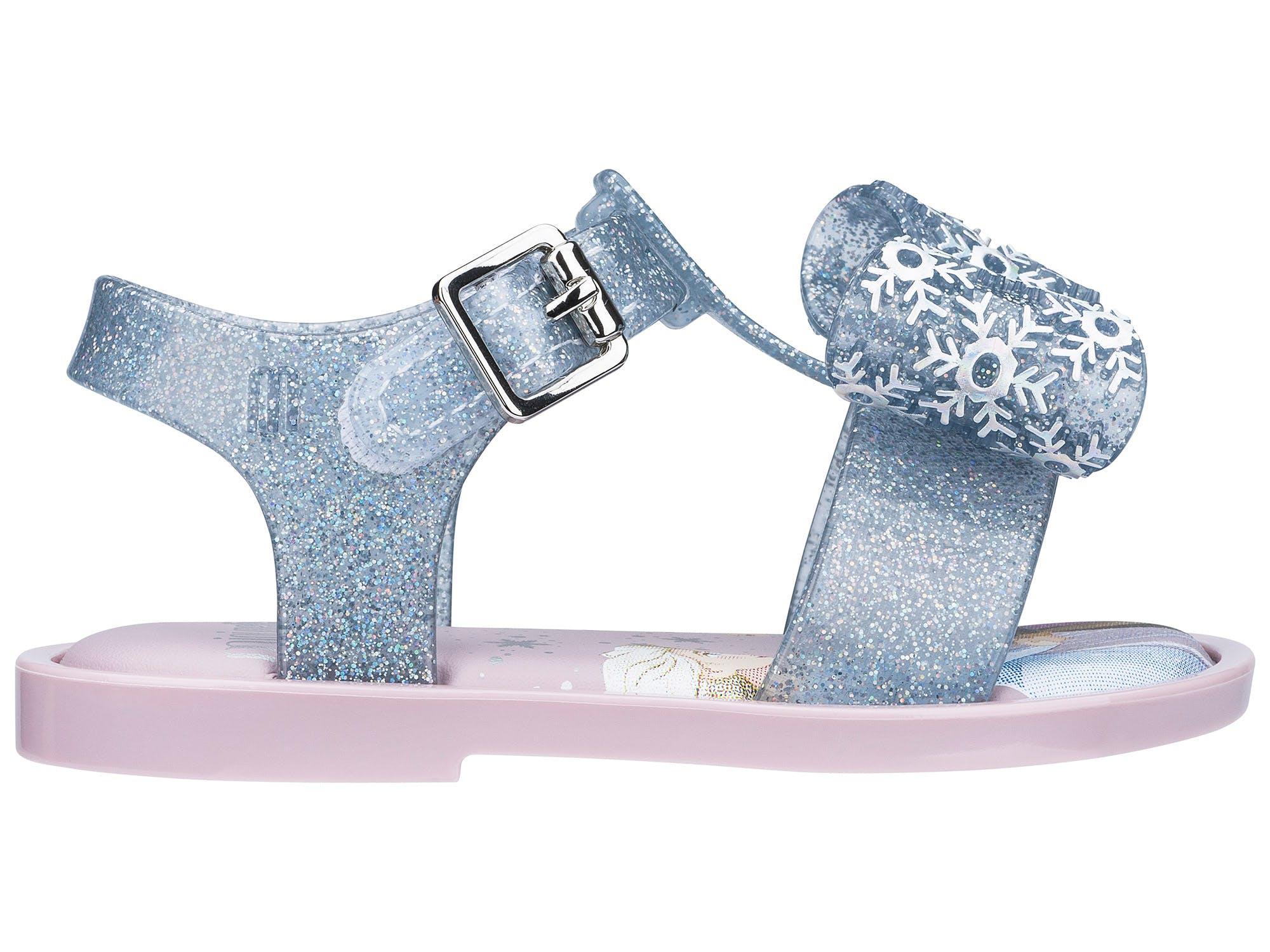 Mini Melissa Mar Sandal Frozen Azul/Vidro Glitter Prata