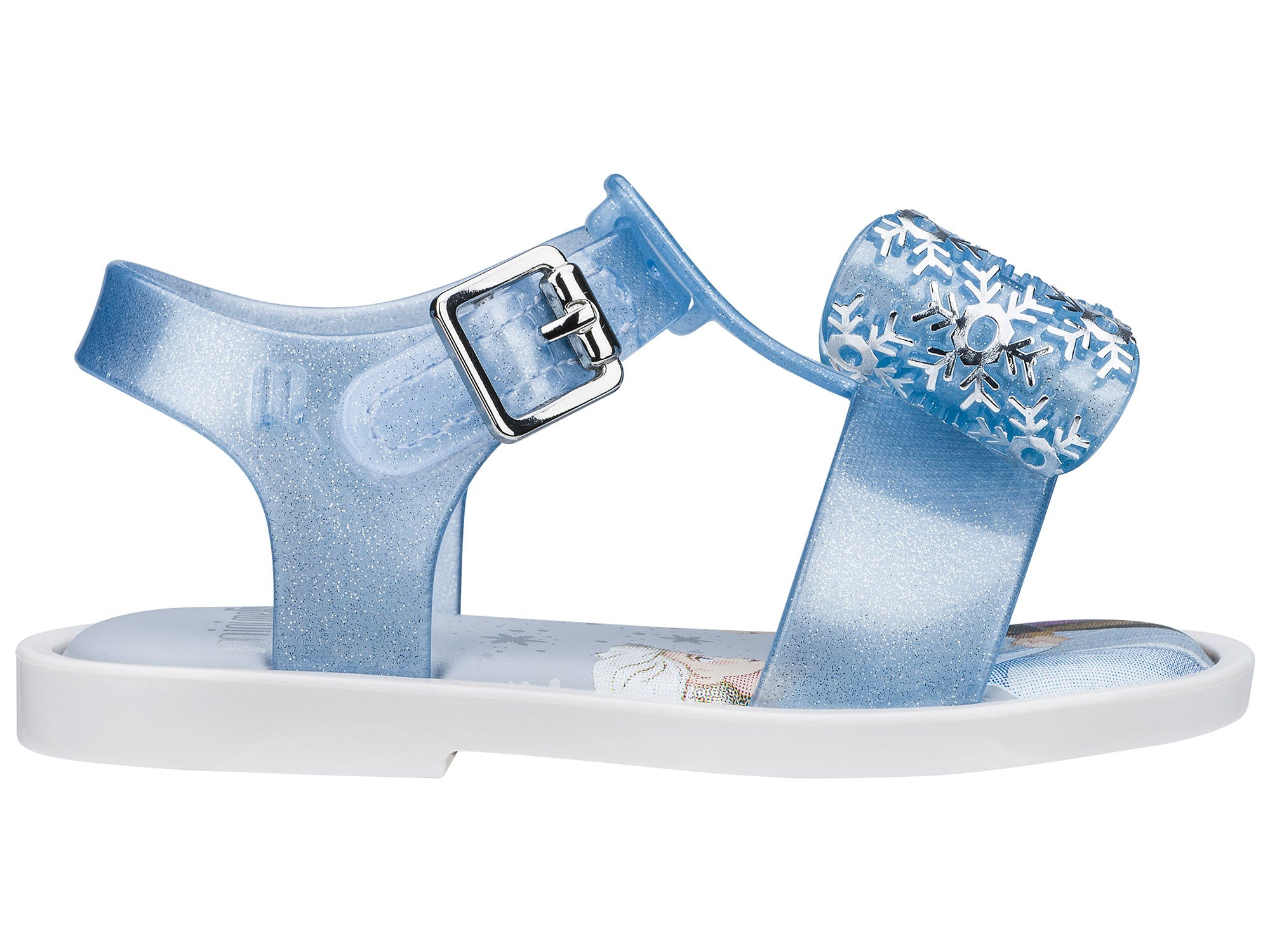 Mini Melissa Mar Sandal Frozen Branco/Azul Glitter Prata
