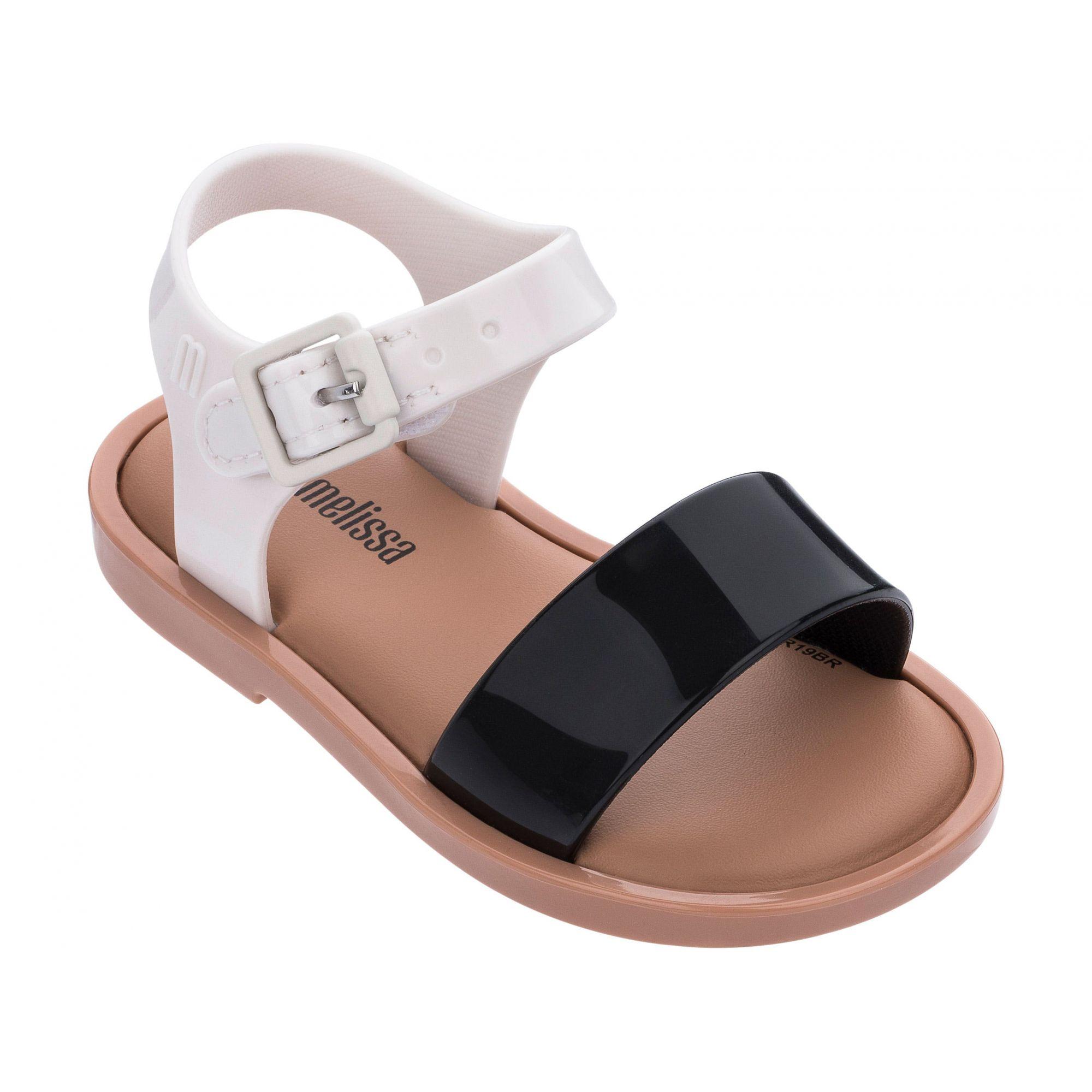 Mini Melissa Mar Sandal IV Preto Branco Marron