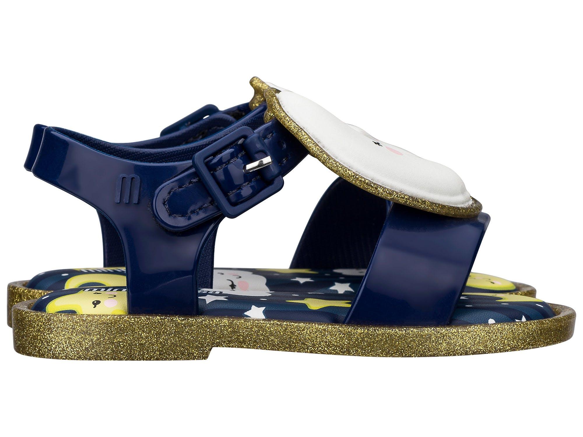 Mini Melissa Mar Sandal Sweet Dreams Azul Ouro Glitter