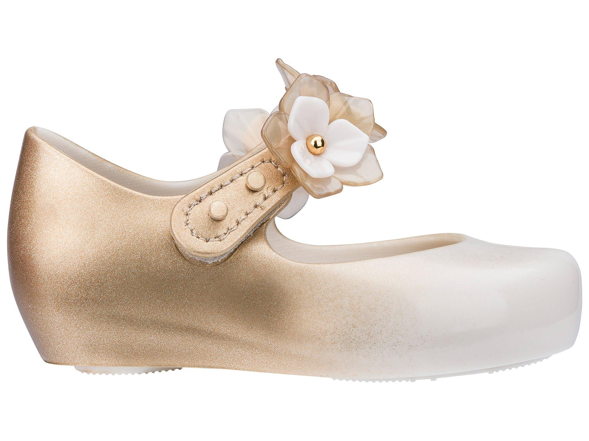Mini Melissa Ultragirl Flower Bege Dourado