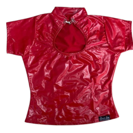 Blusa Lady Dragon em vinil efeito latex vermelha