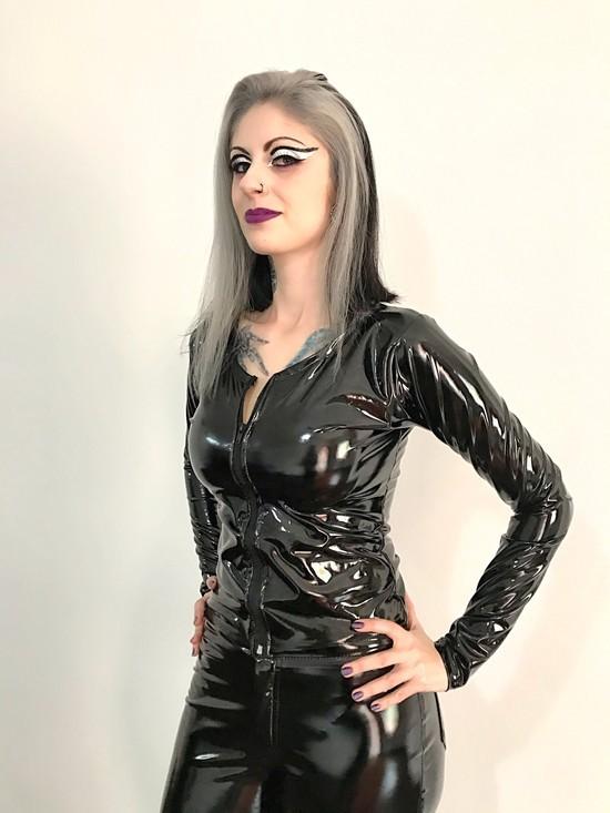 Blusa Vinil Efeito Látex Black Widow - Pronta Entrega