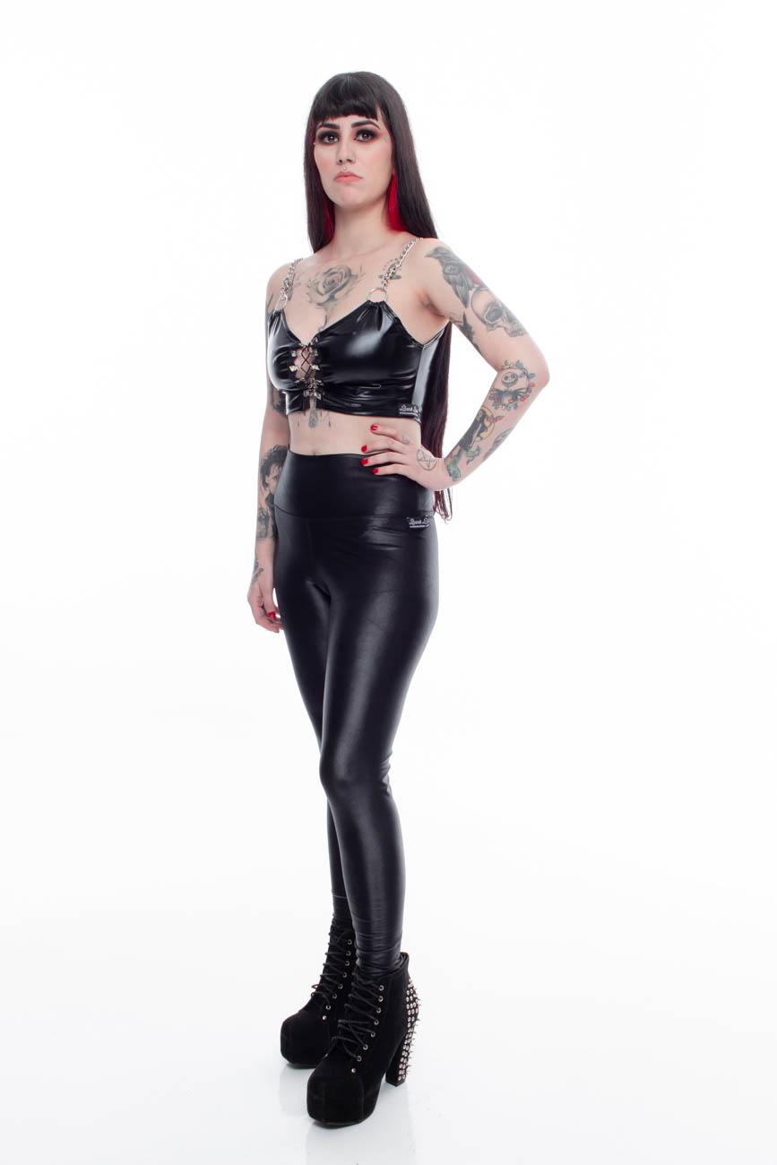 Calça legging cintura alta em lycra extra brilho importada