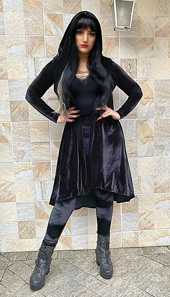 Cardigan Longo Unissex Urban Witch Em Veludo - Pronta Entrega