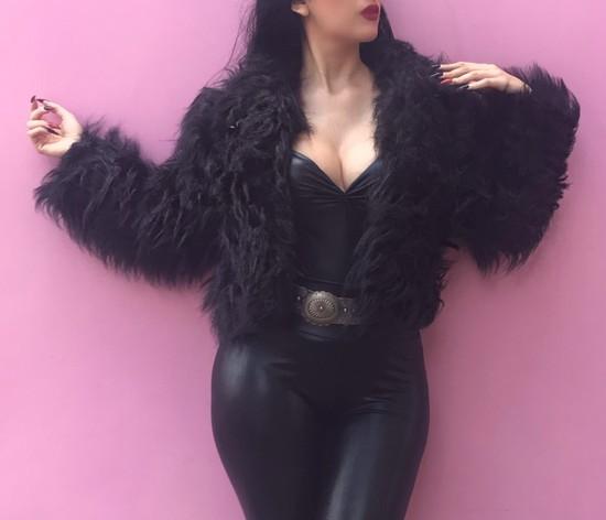 Casaco de pele fake Glamour Black