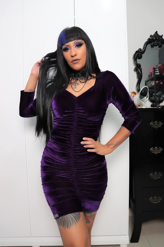 Vestido Drapeado Lady Purple - Pronta Entrega