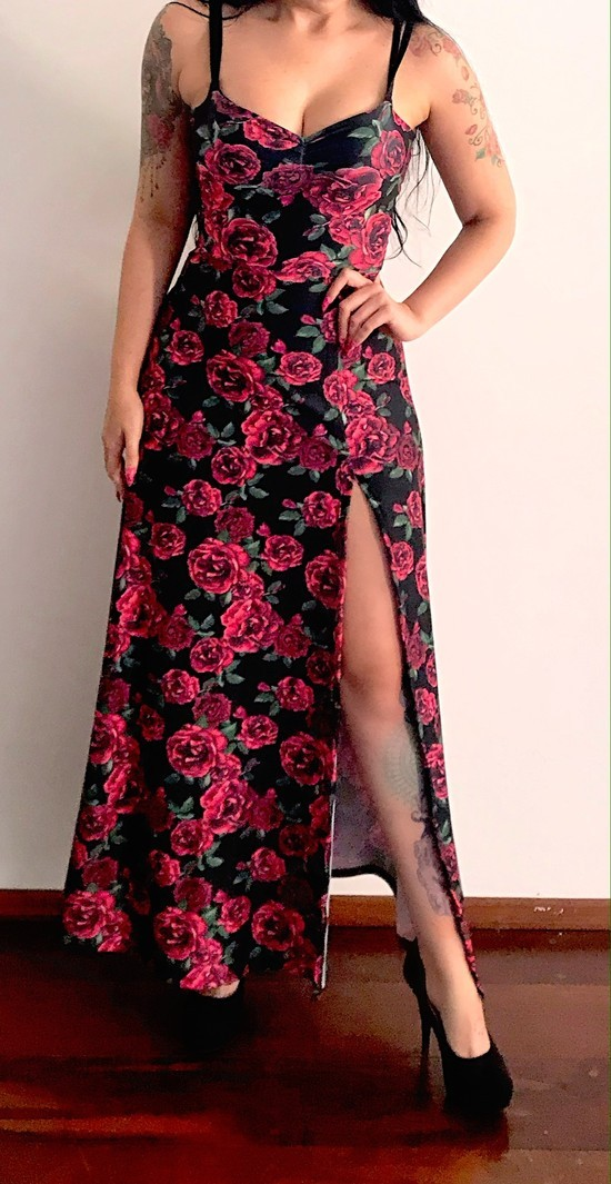Vestido Longo Supreme Roses - Pronta  Entrega