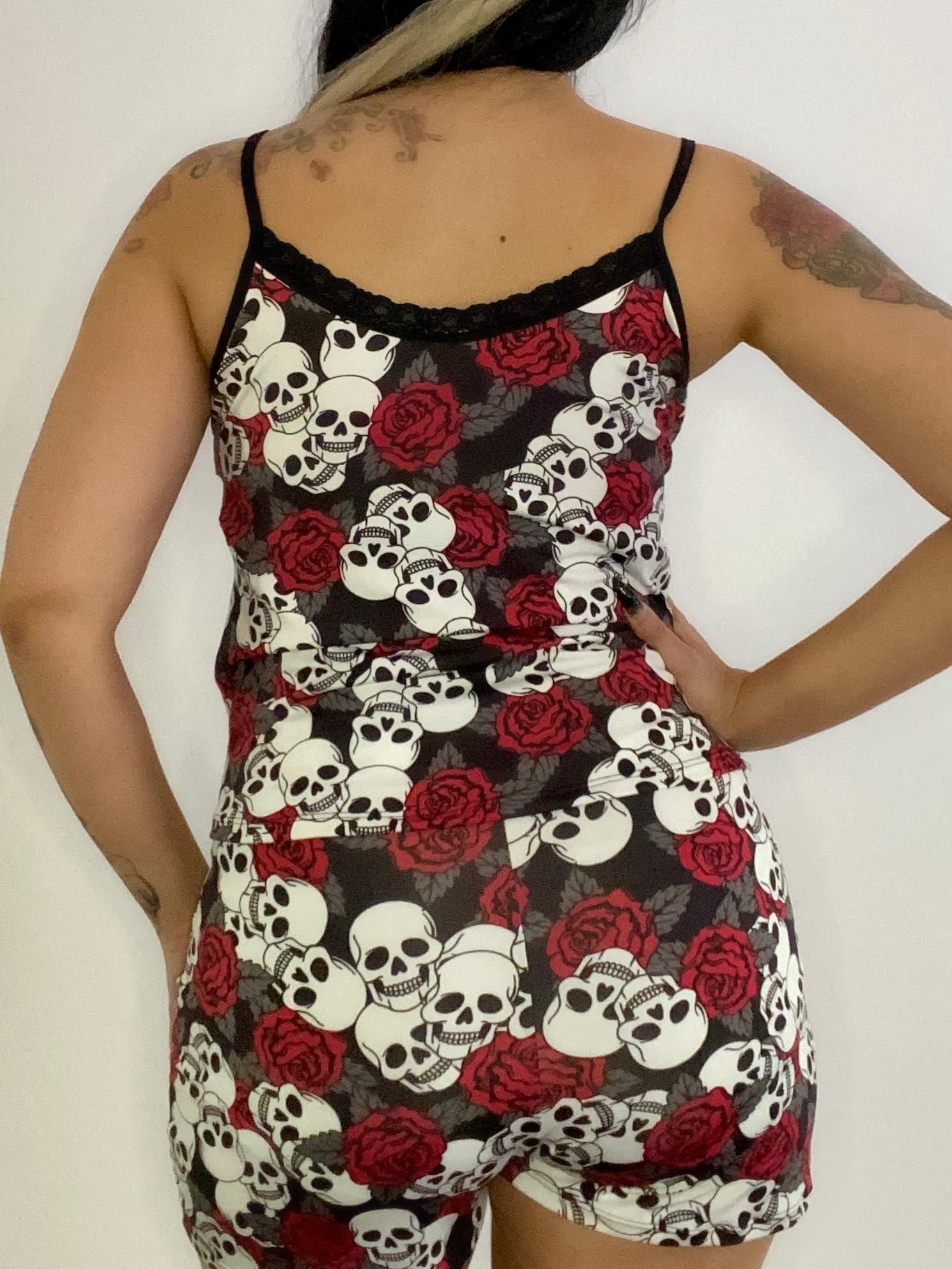 Short Doll Skull Roses