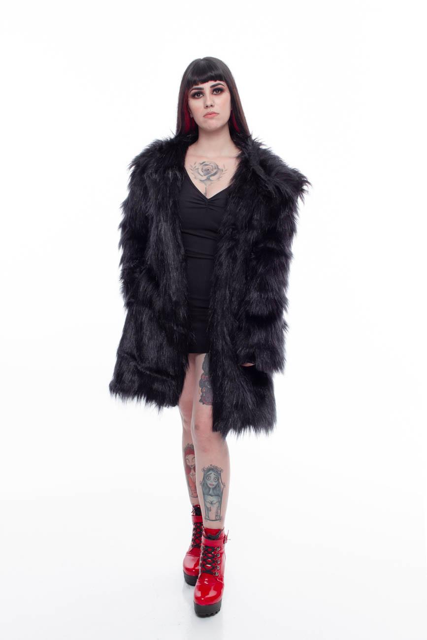 Sobretudo de Pele Fake Glamour Black