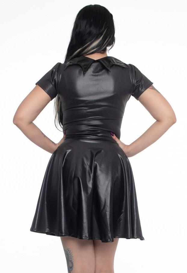 Vestido Bats em Lycra com brilho e gola em vinil - Pronta Entrega