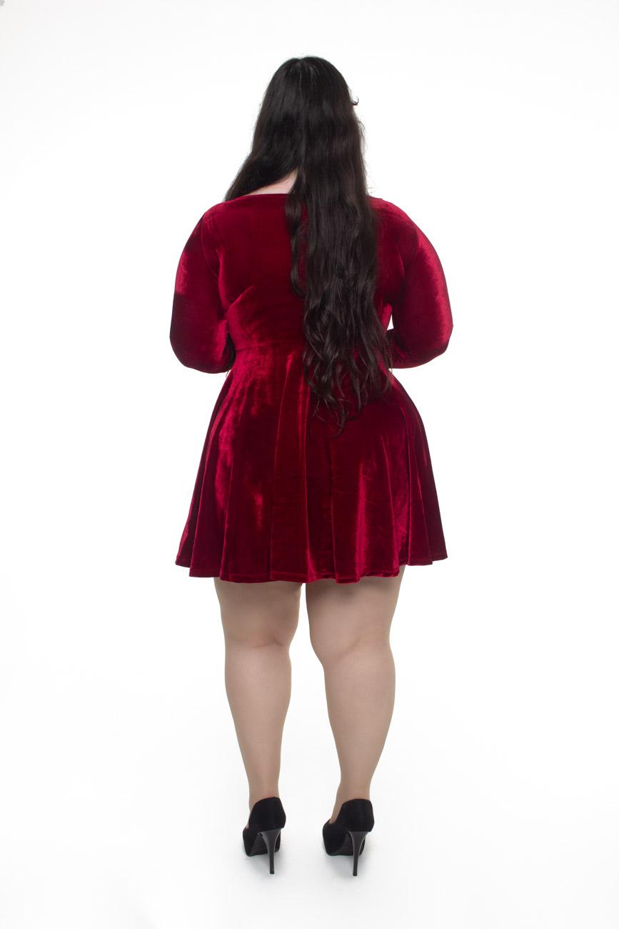 Vestido de Veludo Gothic Doll Rubi Mangas Longas