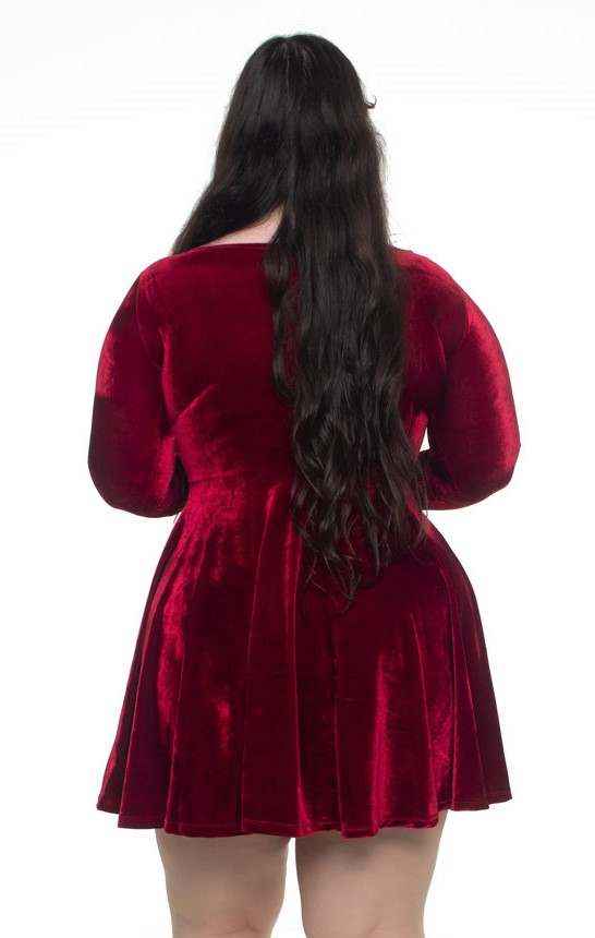 Vestido de Veludo Gothic Doll Rubi Mangas Longas - Pronta Entrega