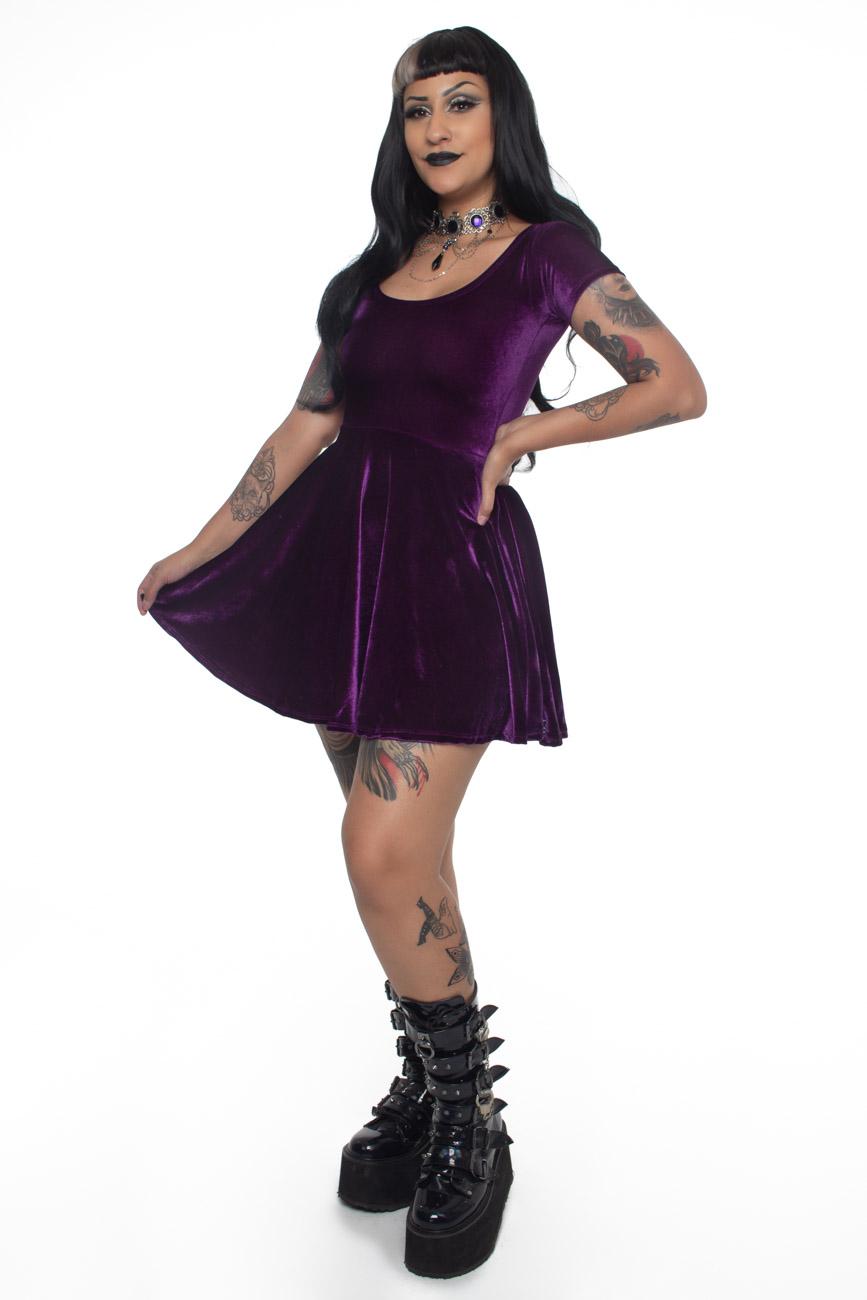Vestido de Veludo Gothic Doll Sarcófago - Pronta  Entrega