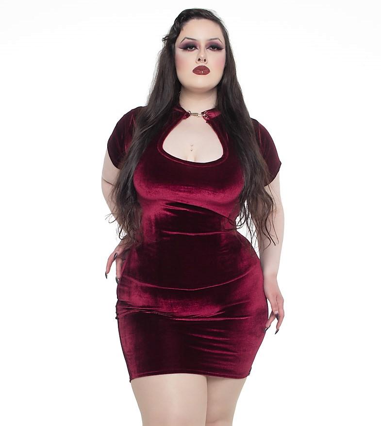 Vestido Justo Lady Dragon Shine em Veludo Blood