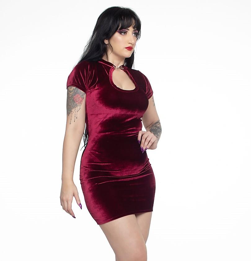 Vestido Justo Lady Dragon Shine em Veludo Blood - Pronta Entrega