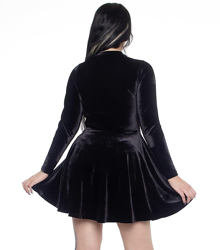 Vestido Lady Dragon em veludo preto mangas longas
