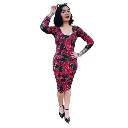 Vestido Mistress Roses Midi Mangas Longas