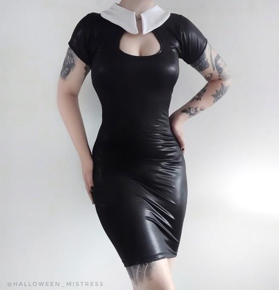 Vestido Sexy Vandinha em Lycra Extra Brilho Preta.