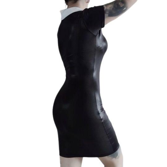 Vestido Sexy Vandinha em Lycra Extra Brilho Preta - Pronta Entrega