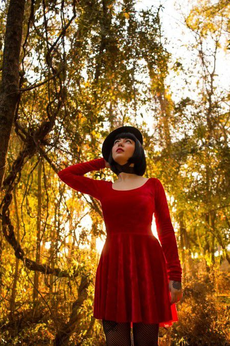 Vestido Vintage Doll Red Velvet
