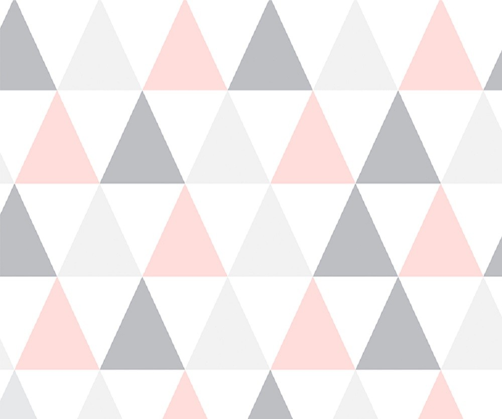 Papel Contact Adesivo Geométrico Triângulos Rosa 10m