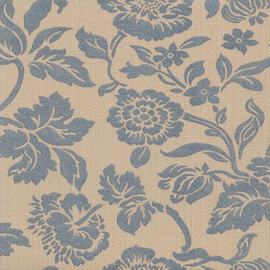 Papel de Parede Floral Azul e Bege 52cm x 10m Harmonia