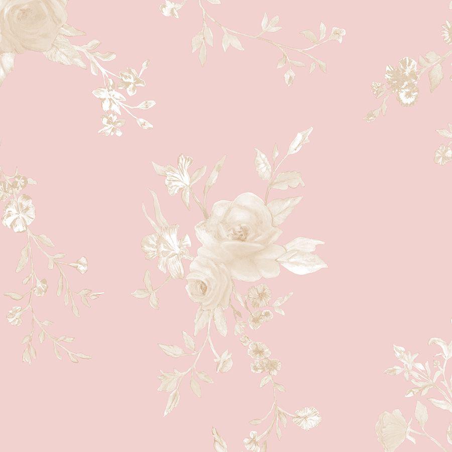 Papel de Parede Floral Fundo Rosa Rustic