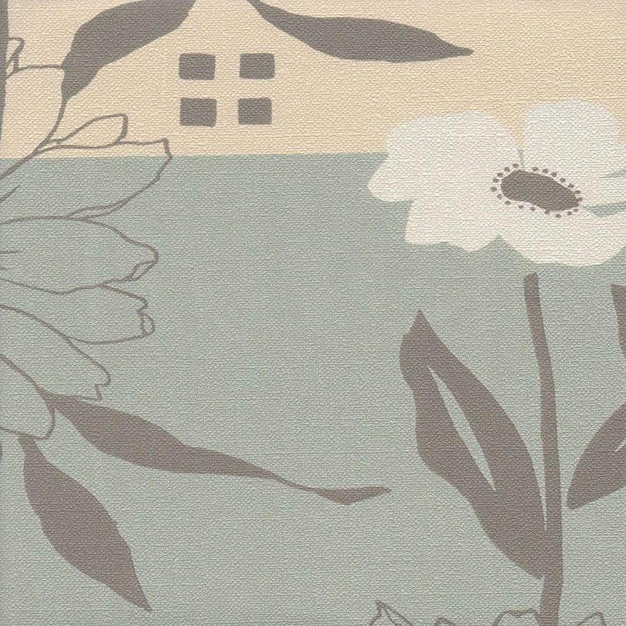 Papel de Parede Floral Verde e Bege 52cm x 10m Harmonia