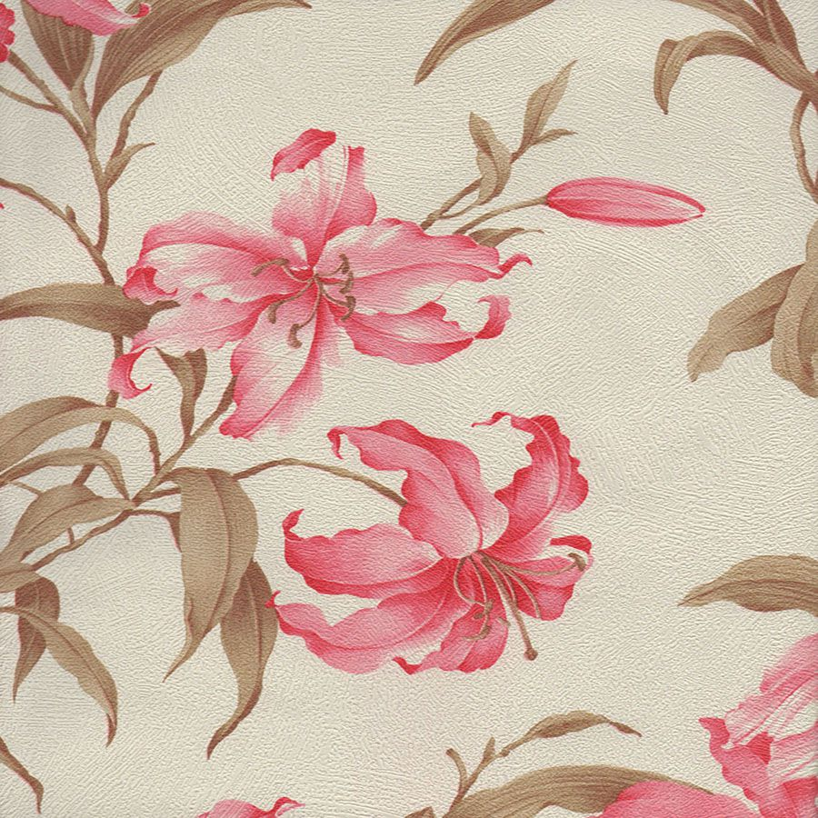 Papel de Parede Harmonia Floral Rosa e Branco 52cm x 10m Harmonia