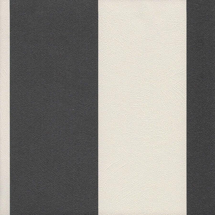 Papel de Parede Listra Larga Preto e Branco 52cm x 10m Harmonia