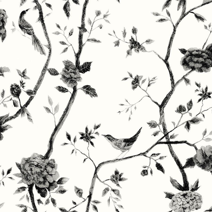Papel de Parede Pássaros Cinza Escuro 52cm x 10m Rustic