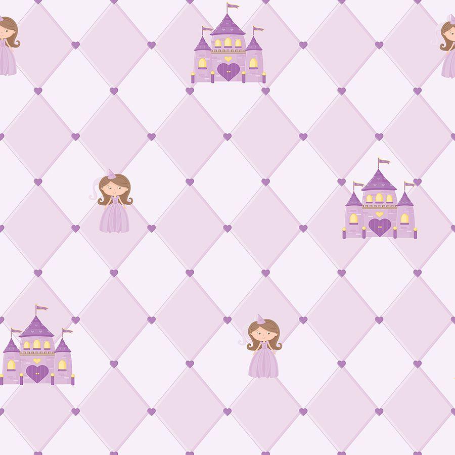 Papel de Parede Princesas Lilás 52cm x 10m Novo Encanto