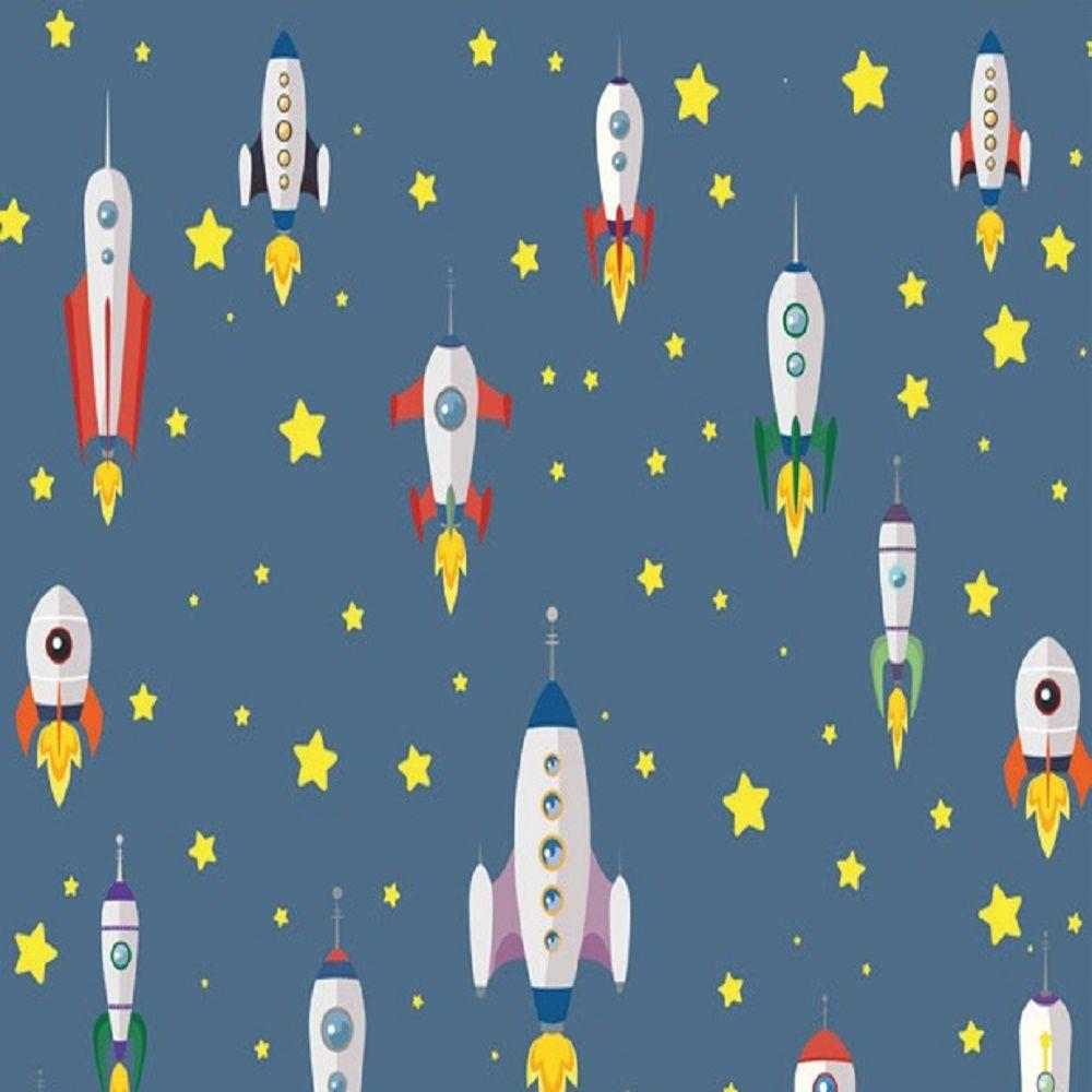 Revestimento Adesivo Contact Infantil Foguete Espacial