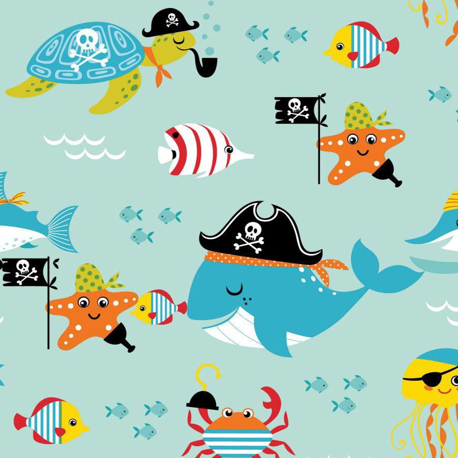 Revestimento Adesivo Infantil Piratas do Mar