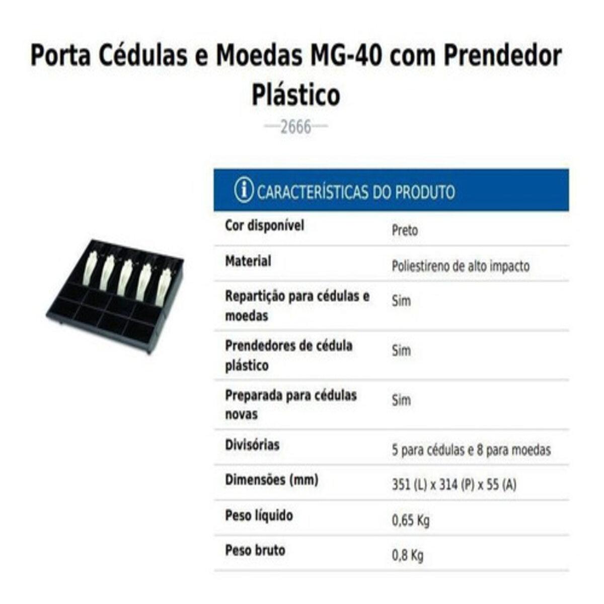 Porta Cédulas e Moedas Menno MG 40 Prendedores Plástico