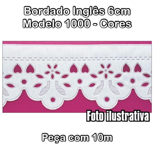 1000 Bordado Inglês 6cm X 10m - Cores  - Baby Sonic Aviamentos